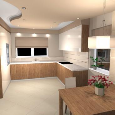 Aranżacja wnętrza salonu z kuchnią w Rudzie Śląskiej