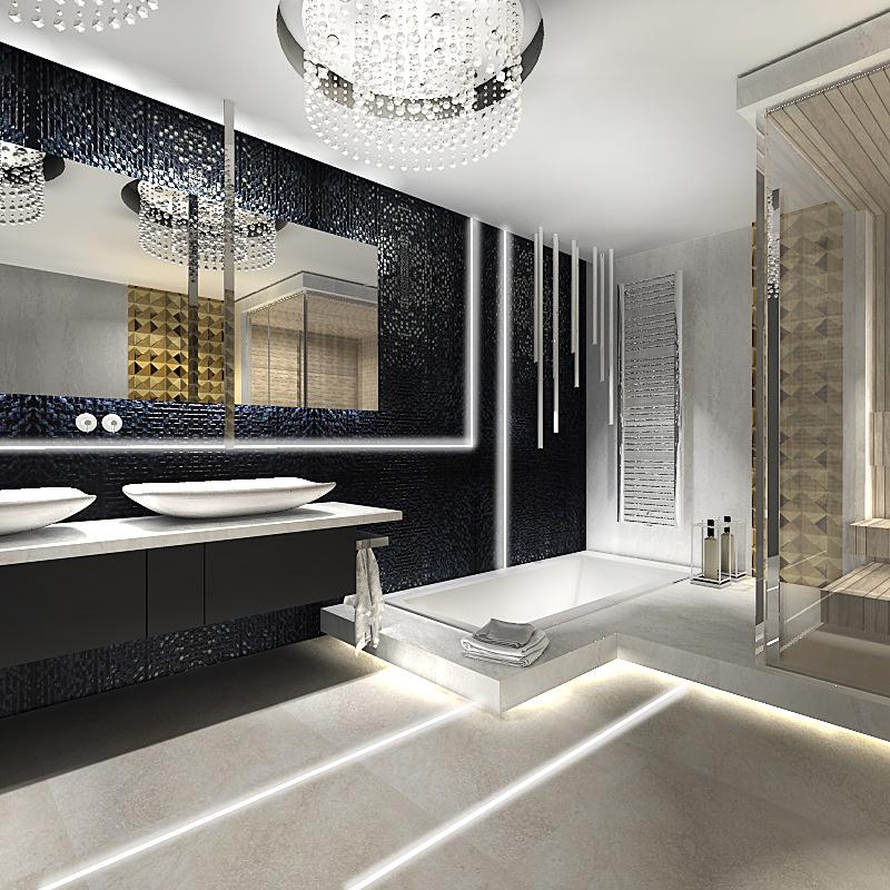 Duża łazienka Z Sauną Ekskluzywne Wnętrze
