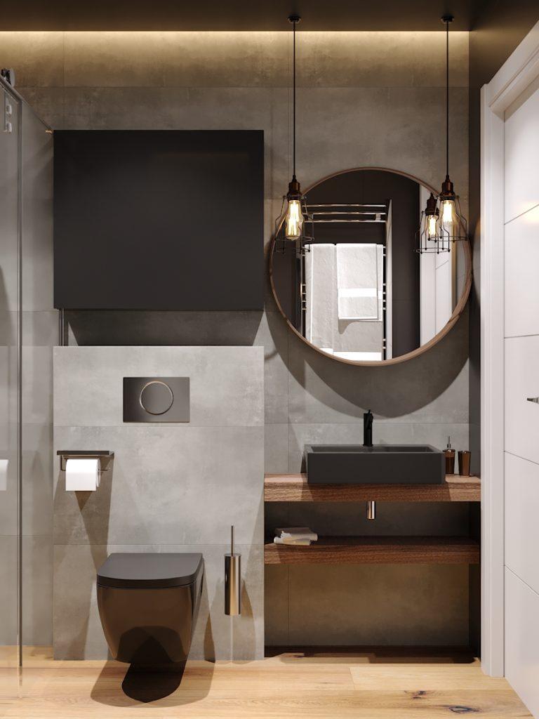 Projekt Wnetrz Małej łazienki W Stylu Industrialnym