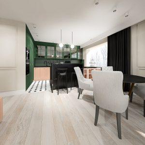 salon i kuchnia w stylu modern calssic