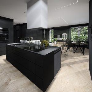 Duża czarna kuchnia z wyspą